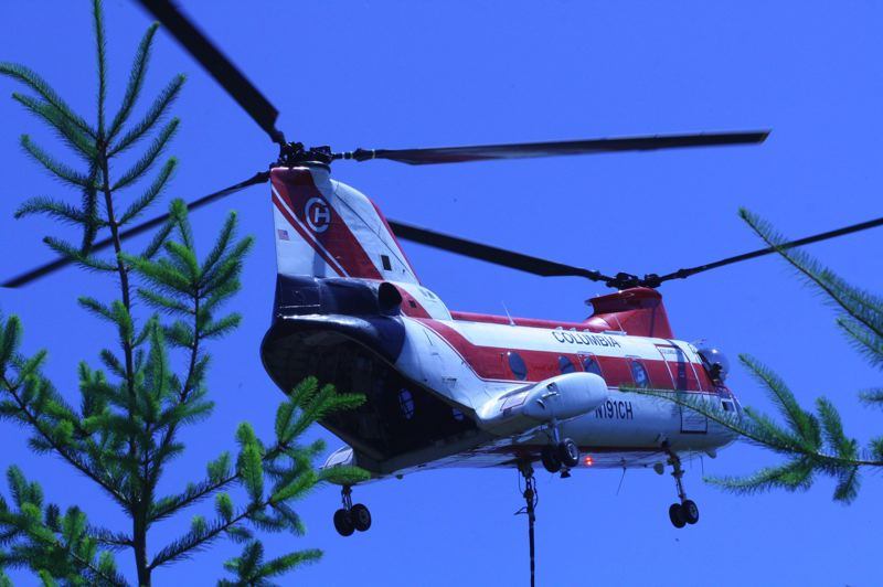 COURTESY PHOTO - A helicopter delivers logs to Suter Creek for a habitat restoration project.