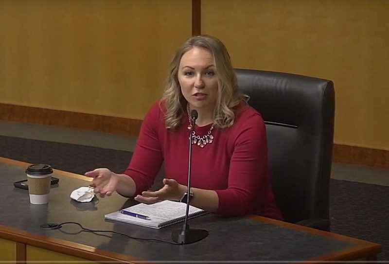 COURTESY OF MARION COUNTY - Marion County Public Health Director Katrina Rothenberger apprises commissioners on COVID-19 saliva testing project on which the county is collaborating with University of Oregon researchers.