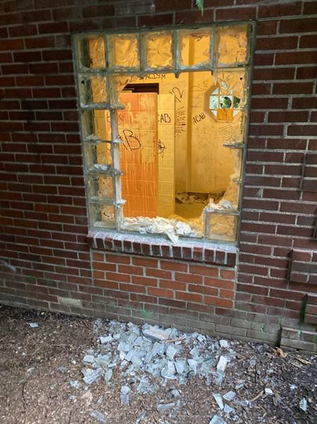 COURTESY PPB - Damage done to the bathrooms bathrooms at Lownsdale Square and Chapman Park.