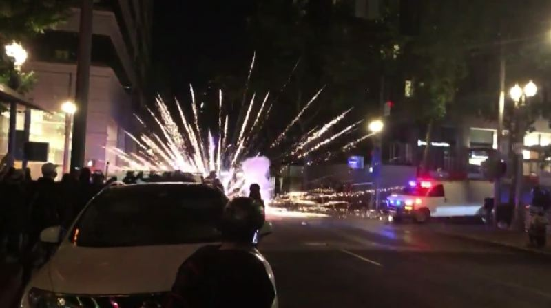 Fireworks, riot outside Justice Center in downtown Portland again overnight