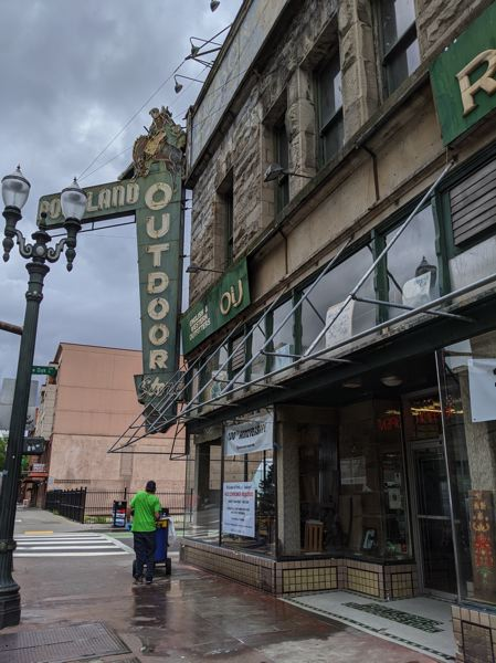 PMG: JOSEPH GALLIVAN - Portland Outdoor Store reopened in June and is surviving on low sales because of low overheads. It has also escaped vandalism.
