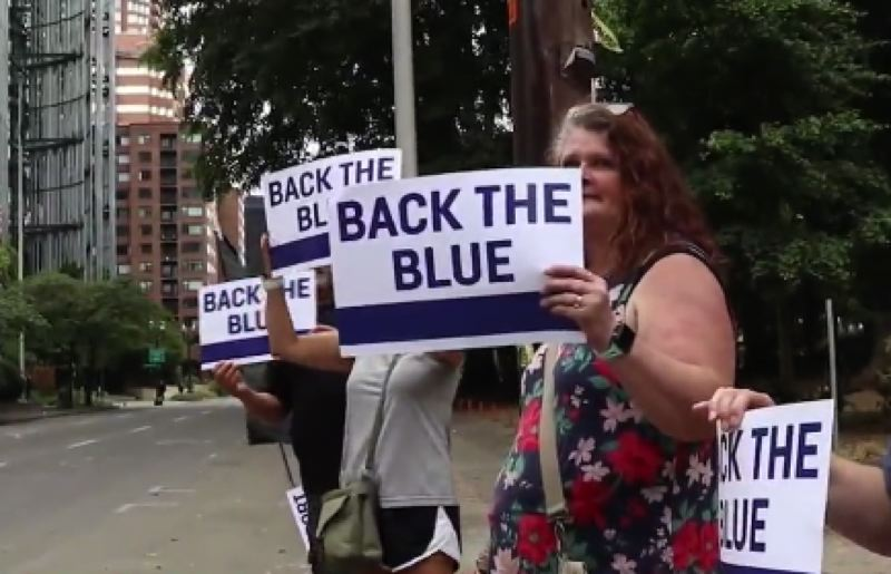COURTESY PHOTO: KOIN 6 NEWS - Some of those at the pro-police rally near the Justice Center on Sunday.