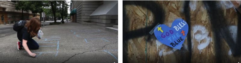 COURTESY PHOTO: KOIN 6 NEWS - A girl writes 'Blue Lives Matter' on the sidewalk next to the Justice Center (left). Police supporters taped blue hearts with positive messages near Central Precinct in the Justice Center (right).
