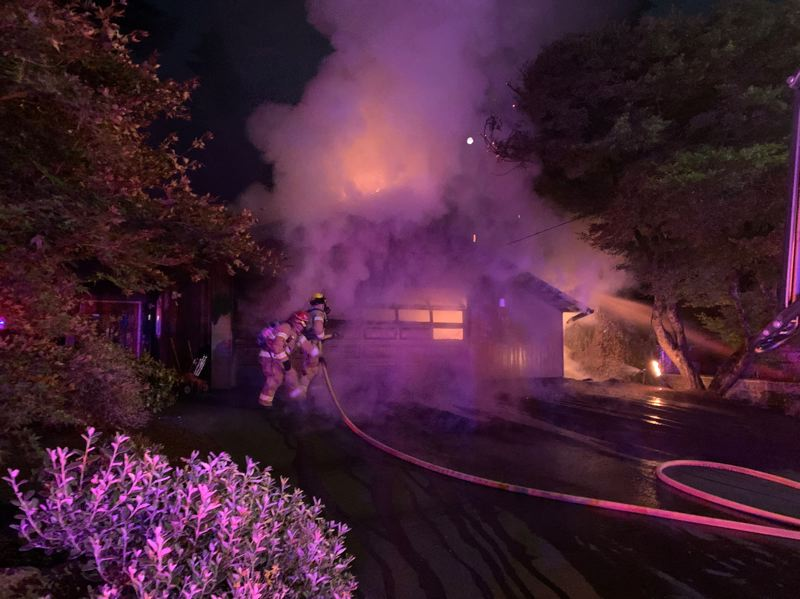 COURTESY PHOTO: LAKE OSWEGO FIRE DEPARTMENT - The Lake Oswego Fire Department responded to a fire just after midnight July 5.