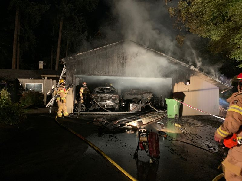 COURTESY PHOTO: LAKE OSWEGO FIRE DEPARTMENT - The fire on Chandler Place destroyed a garage and its contents.