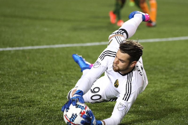 PMG FILE PHOTO: JAIME VALDEZ - Jake Gleeson, pictured making a save in a 2017 match against Houston, is suing the doctors who performed surgery on his shins in 2018, procedures he says ended his career.