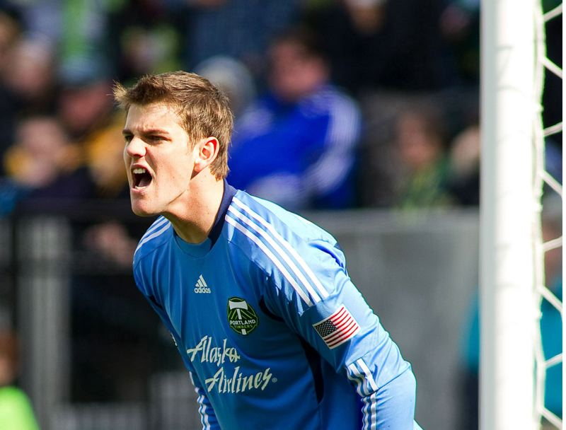 PMG FILE PHOTO: CHRISTOPHER ONSTOTT - Jake Gleeson yells in structions during the Timbers second MLS home match on April  17, 2011, a 3-2 win over FC Dallas