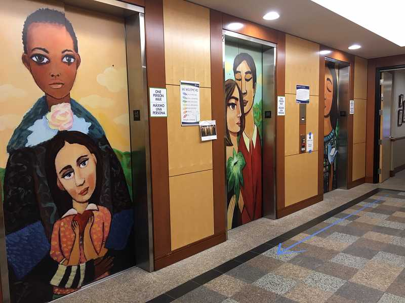 COURTESY PHOTO - On the first-floor of the Hillsboro Civic Center, people will now find new artwork staring back at them before they enter the elevator. The artwork was created by Portland-based artist William Hernandez.
