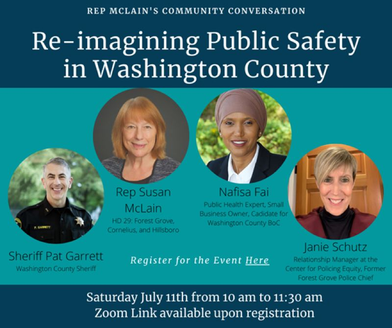 COURTESY IMAGE: - A flyer announcing a community conversation with Rep. Susan McLain about police reform in Washington County.
