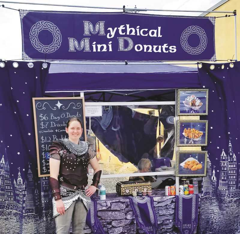 COURTESY PHOTO - Skylar Rae Atkinson opened Mythical Mini Donuts, a medieval-themed doughnut shop, in response to an assignment as a student at George Fox University.