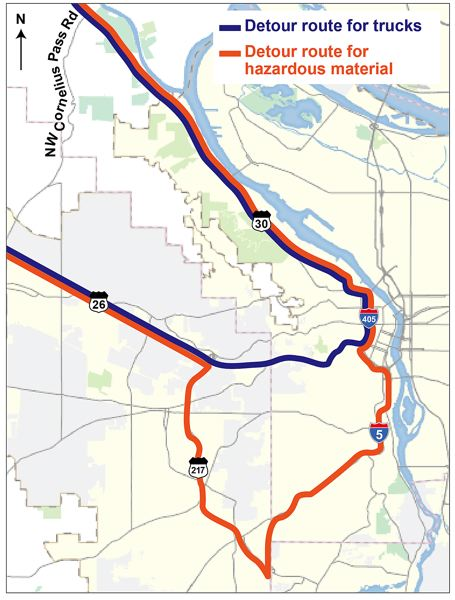 COURTESY PHOTO: MULTNOMAH COUNTY - This map details alternate routes for trucks and vehicles carrying hazardous materials during the upcoming closure of Cornelius Pass Road.