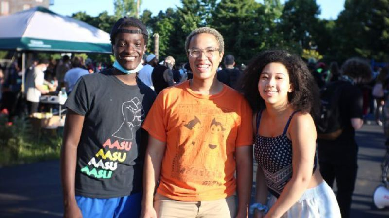 COURTESY KOIN 6 NEWS - From left: Asukulu Songolo 17, Taji Chesimet, 18, and Amira Tripp Folsom, 18, are the organizers of a march from Roosevelt High School to James John Elementary in North Portland.