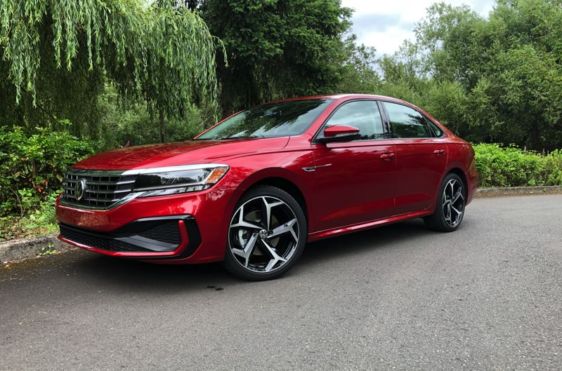 PMG PHOTO: JEFF ZURSCHMEIDE - The bodywork on the 2020 VW Passat is all new and the R-Line trim is the sportiest. The turbocharged 2.0-liter engine lives up to the looks.