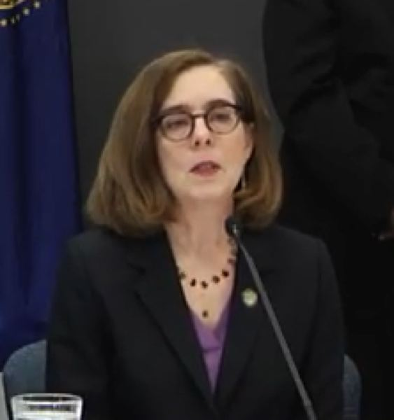 SCREEN CAPTURE - Gov. Kate Brown has introduced new safety procedures to stop the spread of COVID-19.