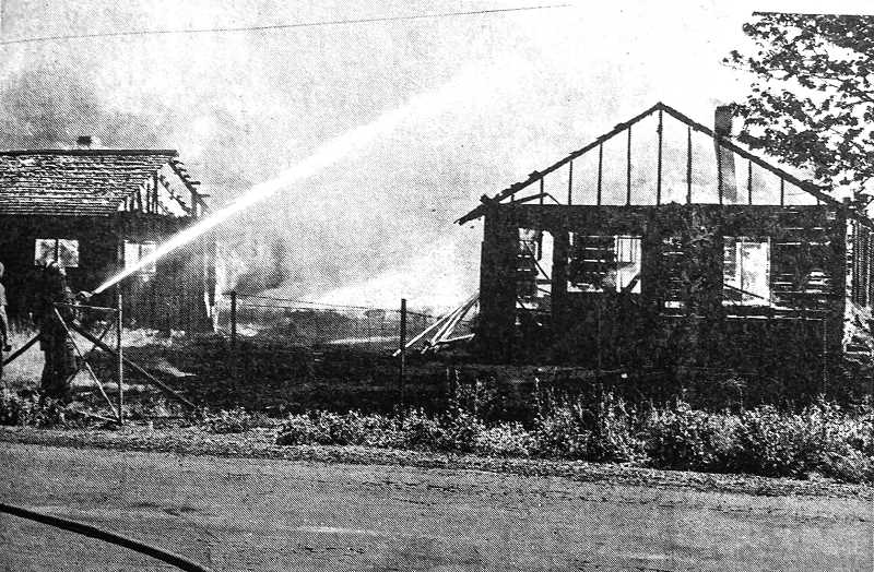 CENTRAL OREGONIAN - June 16, 1970 :Fire which completely destroyed a frame house and garage Thursday afternoon is thought to have been set by a 12-year old boy who was playing with matches. The house, located on Southeast Second Street by the high school, belonged to Fred Hudspeth and was not occupied at the time of the fire. Equipment stored in the two buildings was completely destroyed.