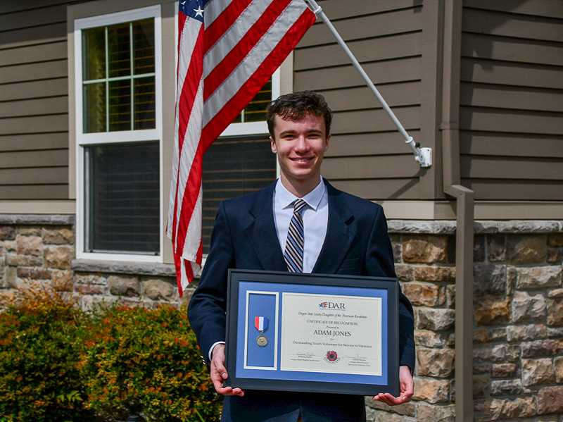 COURTESY PHOTO - 17-year-old Adam Jones is a rising senior at Westview High School in Portland and has been selected as the 2020 most outstanding youth volunteer for veterans by the DAR.