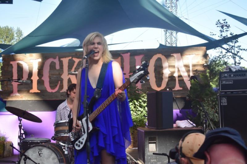 PMG FILE PHOTO: SHANNON O. WELLS - New York trio Sunflower Bean, fronted by Julia Cumming, made an indelible impression at the 20th annual Pickathon festival in 2018. The festival received financial help from the Oregon Legislature in July 2020.