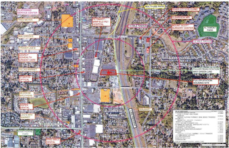 COURTESY OF THE HOUSING AUTHORITY OF CLACKAMAS COUNTY - A map shows the location of the Fuller Station project located on Fuller Road just west of Happy Valley.