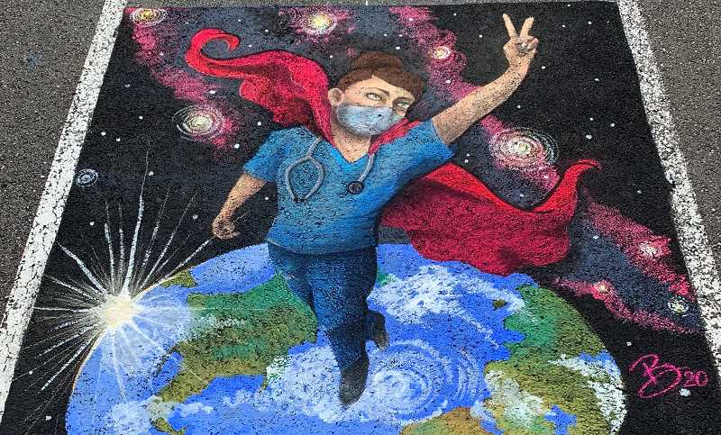 COURTESY PHOTO: MARK FAGIN - Chalk drawing created by Brittany Resch. Resch is featured alongside other artists for 2D4Ds Un-Festival time lapse video.