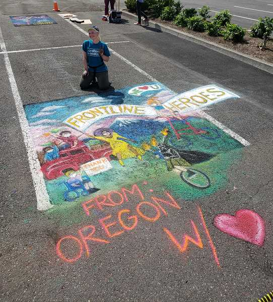 COURTESY PHOTO: MARK FAGIN - Morgan Millers chalk creation for the Un-Festival event put on by 2D4D. The nonprofit is an arts organization in Beaverton.