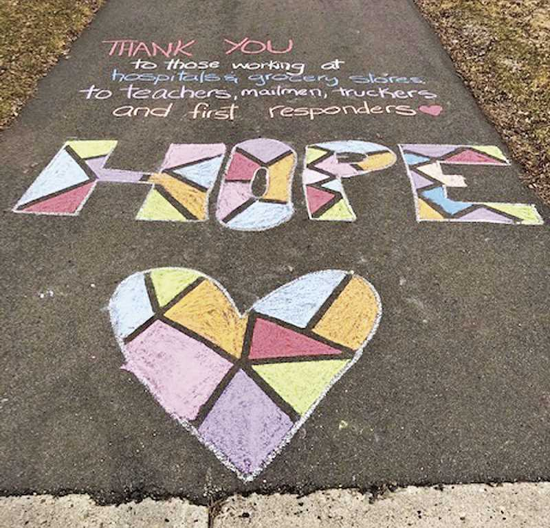 COURTESY PHOTO - Hope is all you need by Eesha Paruvada. The chalk drawing is one of many pieces featured in 2D4Ds Un-Festival time lapse video.
