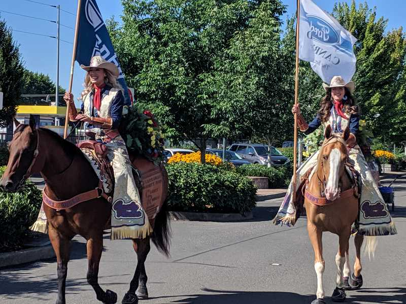 PMG FILE PHOTO - Canby Rodeo royalty rides through during the 2019 event.