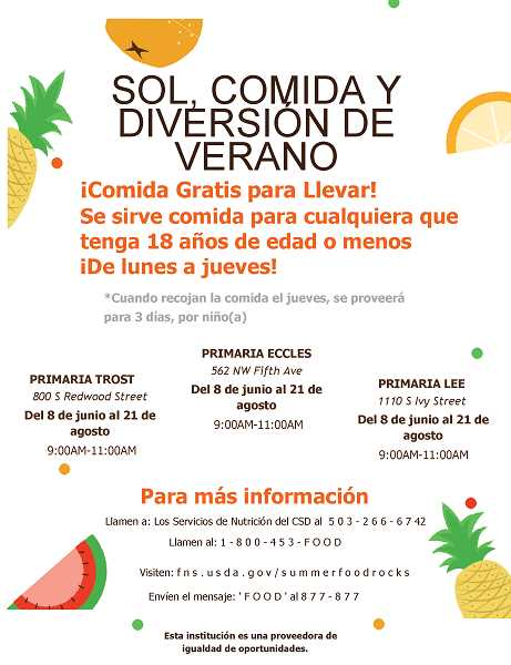 COURTESY PHOTO: CANBY SCHOOL DISTRICT - Canby's summer meal flier shows details of the program in Spanish.