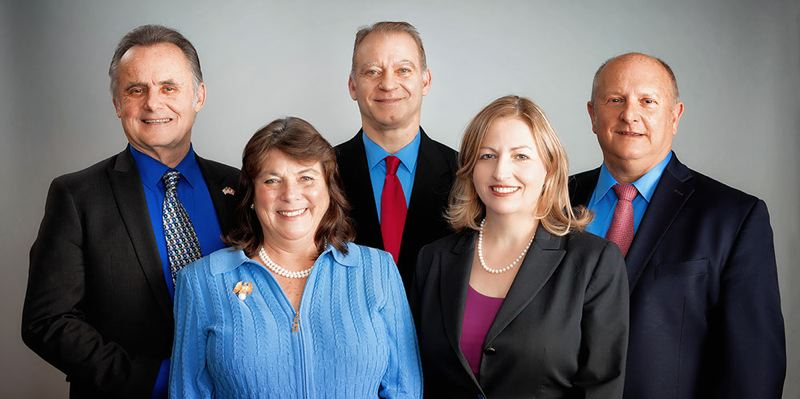 FILE PHOTO - Clackamas County's Board of Commissioners from left to right: (top) Ken Humberston, Paul Savas, Jim Bernard, (bottom) Martha Schrader and Sonya Fischer.