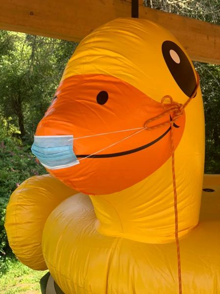COURTESY PHOTO: TROOP 555 - The Triple Nickels take this giant inflatable duck on every camping trip.