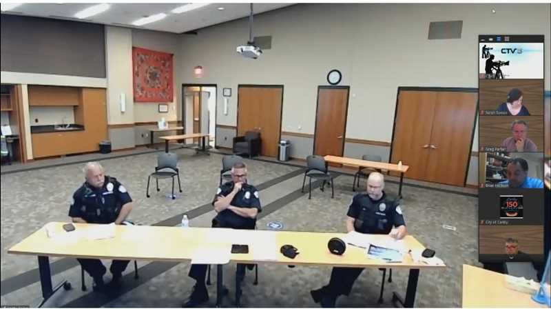 COURTESY: YOUTUBE - From left, Lt. Jose Gonzalez, Chief Bret Smith and Lt. Jorge Tro present to the City Council Wednesday, July 15.