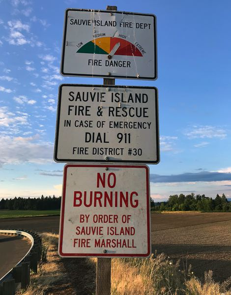 COURTESY PHOTO: SAUVIE ISLAND FIRE DISTRICT - The Sauvie Island Fire District implemented a burn ban on July 15 for all outdoor burning except barbecues and purpose-built fireplaces.
