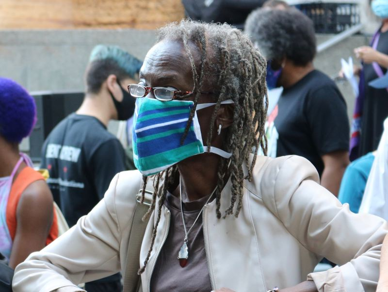 PMG PHOTO: ZANE SPARLING - Commissioner Jo Ann Hardesty spoke at a rally on the steps of the Multnomah County Justice Center on Friday, July 17.
