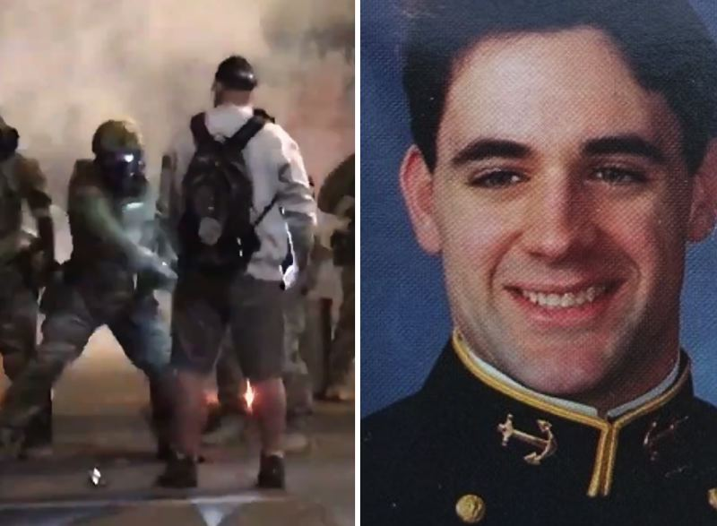 PHOTO - Chris David was struck repeatedly by federal officers with batons in downtown Portland on Friday, July 18. At right, a photo from David's youth when he joined the U.S. Navy after high school.
