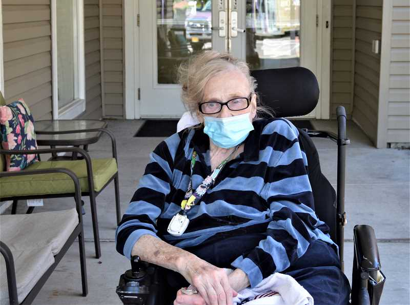 PMG PHOTO: CINDY FAMA - Shirley Desch, 80, is a resident of Silver Creek Senior Living in Silverton, and is enjoying being a pen pal with Cathy McQueeney of Colton.
