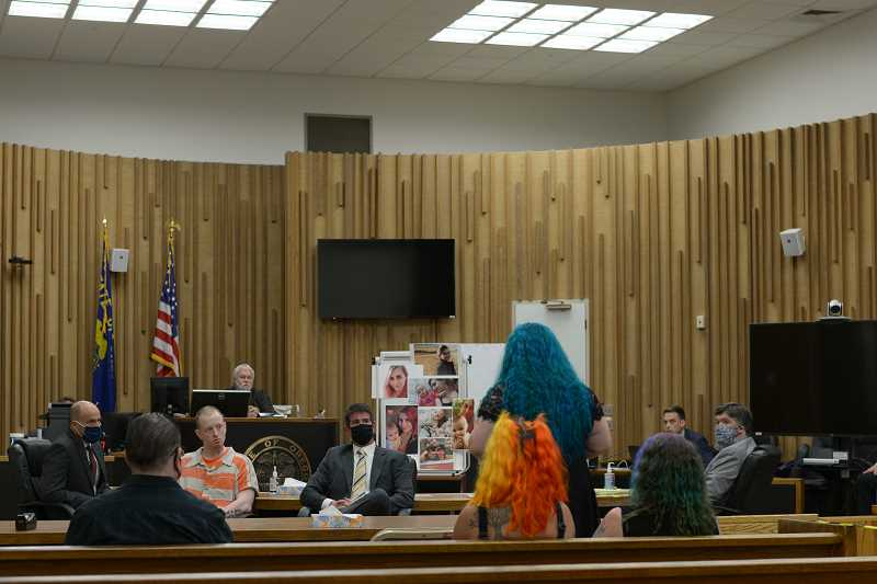 PMG PHOTO: ANNA DEL SAVIO - Nonnie Hightower, mother of Apache Hightower, stands to address Charles Vernon in court on July 16.