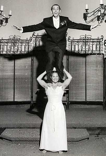 COURTESY OF JULIE KEEFE - Circus artists and Woodstock residents Aaron Wheeler-Kay and Wendy Cohen began performing and teaching at Echo Theater 24 years ago, and performed this stunt for one of their wedding photos in 2003.