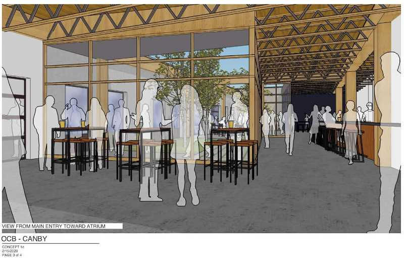 COURTESY PHOTO: OC BREWING - Pictured is a rendering of the potential Canby brewery from the main entry.
