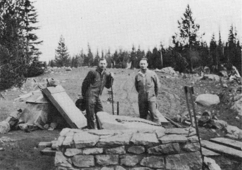 PHOTO COURTESY OF BOWMAN MUSEUM  - Workers building the John T. Craig Memorial on McKenzie Highway pause for a photo.