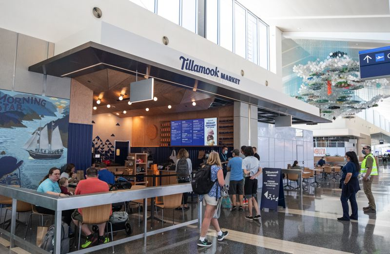 PMG PHOTO: JONATHAN HOUSE - One store that did open is Tillamook Market, selling sandwiches, ice cream and cheese. The terminal is designed for 6 million passengers a year so it is considered good marketing for companies trying to expand their brand.
