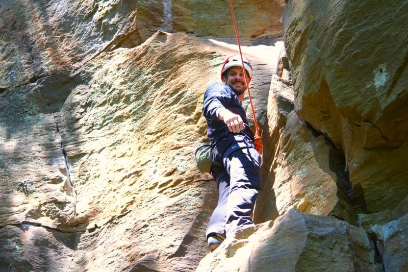PMG PHOTO: SAM STITES - On Monday, July 20, Clackamas County resident Tom Saddoris attemps a route on the crag located in Madrone Wall Park.
