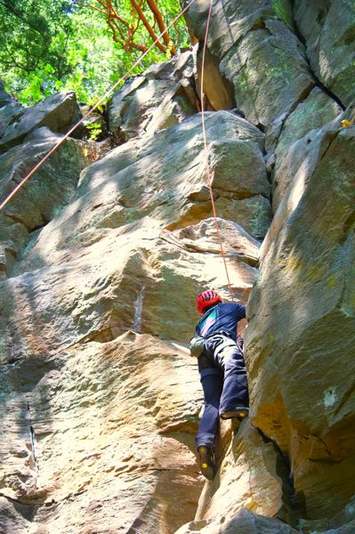 PMG PHOTO: SAM STITES - Madrone Wall Park is several hundred yards long and features more than 100 routes for rock climbing. The park was officially opened in 2017 after the Madrone Wall Preservation Committee worked with Clackamas County to turn the park into a climbers' paradise.