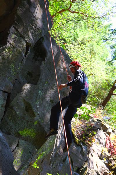 PMG PHOTO: SAM STITES - Tom Saddoris makes his descent on the crag at Madrone Wall Park.