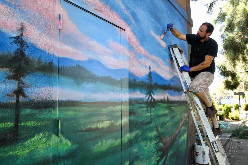 COURTESY PHOTO - Joe Riso's Milwaukie mural will be more than 80 feet long, depicting landscape scenes of Oregon's mountains and forests.