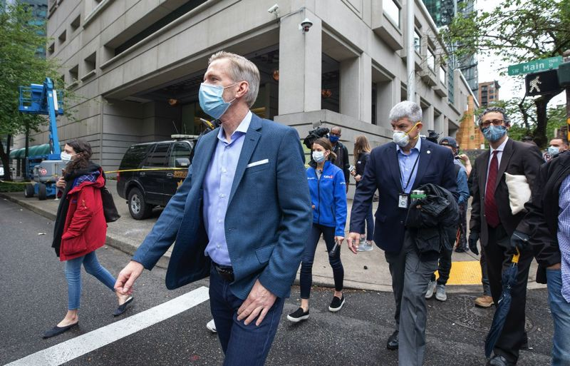 PMG PHOTO: JONATHAN HOUSE - Portland Mayor Ted Wheeler saw the damage to the Multnomah County Justice Center on May 30.