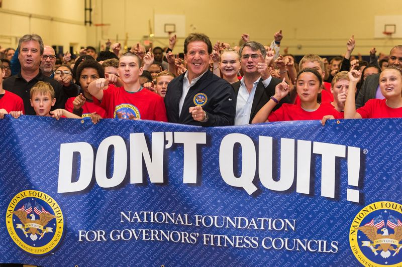 PMG FILE PHOTO - Fitness guru Jake Steinfeld stands with students and officials during a ribbon-cutting ceremony for the National Foundation for Governors' Fitness Councils at Neil Armstrong Middle School on Sept. 21, 2017.