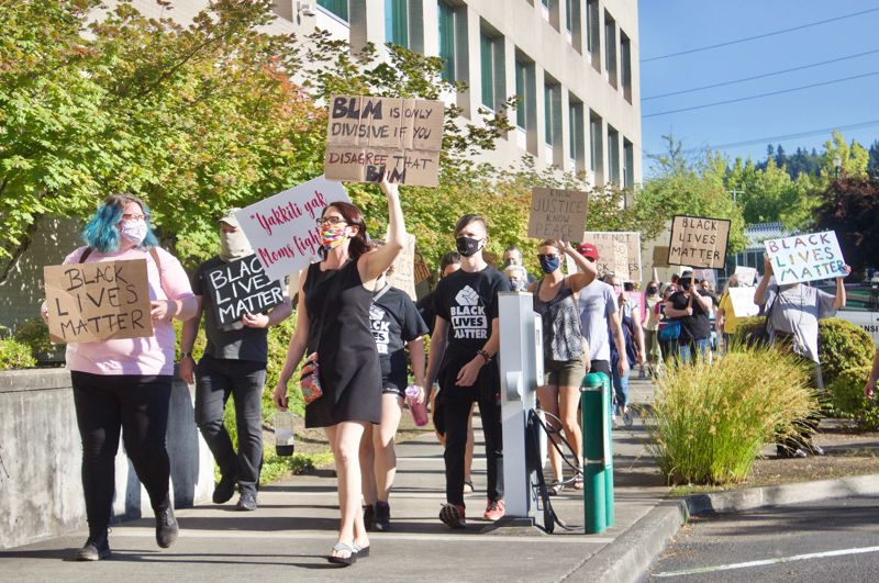 PMG PHOTO: CHRISTOPHER KEIZUR - A group of more than 100 people went to Gresham City Hall Wednesday evening, July 22, in support of Black Lives Matter.