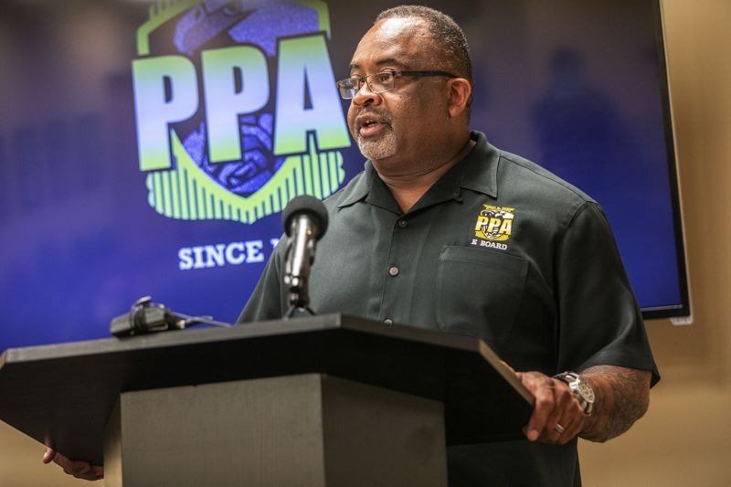 PMG PHOTO BY JONATHAN HOUSE - Portland Police Association president Daryl Turner at a July 8 press conference at which he criticized the Portland City Council for failing to support officers subjected to violent attack by some protesters.