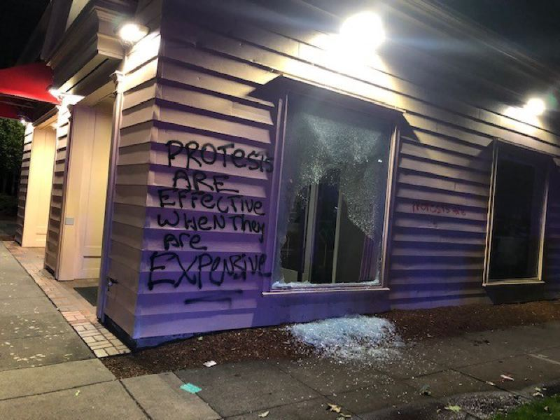 COURTESY PHOTO: PPB - Graffiti added to a wall during one riot reads, 'Protests are effective when they are expensive.'
