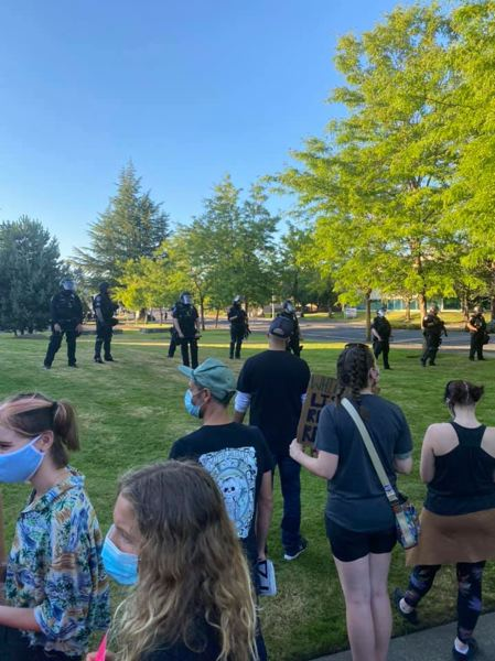 COURTESY PHOTO: KANEN MCREYNOLDS - Gresham Police responded in riot gear after an All Lives Matter supporter pulled a gun on a Black Lives Matter group.