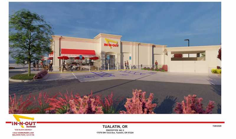 COURTESY OF IN-N-OUT BURGER - Here is an artist rendering of a proposed Tualatin In-N-Out Burger planned for the former Village Inn site.